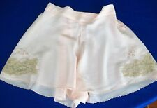 40's 1950s Vintage Panty Shorts Silk Light Peach sz XS / S Embroidery Buttons