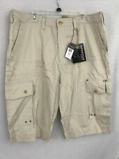 Imperious Delf Trading Inc. Men's Cargo Casual Shorts Cotton NWT Gold White