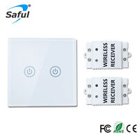 Wireless Wall Switch 2 Gang 2 Way LED Indicator Remote Control touch for Lamps
