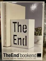 """""""The End"""" White 6""""x4"""" Bookend By Design Ideas New Minimilist Modern Library NEW"""