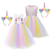 Girls Rainbow Unicorn Dress up Halloween Costume with Headband for Kids Birthday