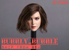 "1/6 Female Head Sculpt SHORT HAIR For 12"" PHICEN Hot Toys Kumik Figure USA"