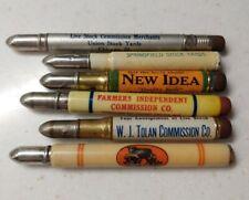 Lot of 6 Vintage Bullet Pencils Advertising Farm Equipment Stock Yards