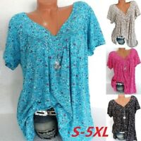 Women's Floral Print Short Sleeves V-Neck Blouse Pullover Tops Shirt Plus Size