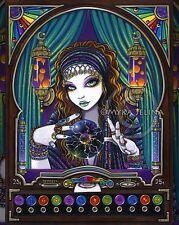 Boho Gypsy Zodiac Signed Print Celestial Astrology Fortune Teller Machine Lumina