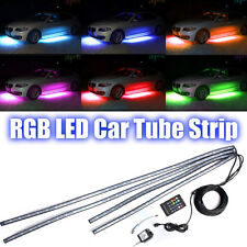 4x RGB LED Under Auto Tube Strip Underglow Body Neon Light Kit Phone App Control