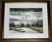 SUZY AALUND SIGNED ORIGINAL WATERCOLOR PAINTING OF GEESE FLYING