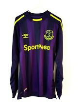 Everton 3rd Shirt 2017. Small Adults. Umbro. Blue Long Sleeves Football Top Only