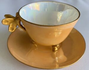 VERY RARE ANTIQUE LIMOGES DEMITASSE CUP & SAUCER DRAGONFLY BUTTERFLY FOOTED GOLD