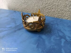Teelichtlampe Teelichthalter aus Messing, gebraucht mit Ornament Sternen