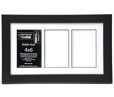3 Opening Glass Face 8x14 Black Picture Frame Holds 4x6 Media White Collage Mat