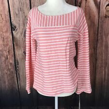 A New Day Target Size Small Pink Button Detail Back Stripe Knit Bell Sleeve Top