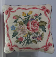 "14.5"" Handmade Embroidered Wool Needlepoint Pillow Victorian Flowers"