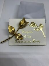 Beautiful Unsigned Gold Tone Legend Of The Christmas Rose With Card Great Gift