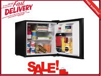 Single Door Small Refrigerator Black 1.7 CU. Ft. Reversible Half-Width Chiller