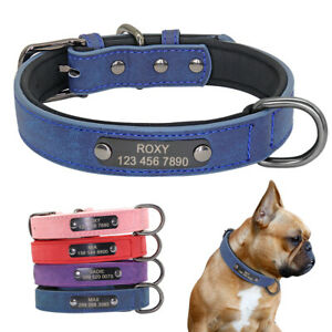 Soft Personalised Dog Collars Leather with Padded Liner Pet Name ID Engraved Tag
