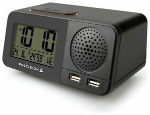 Precision Radio Controlled Atomic Digital Display Alarm Clock Dual USB AP055