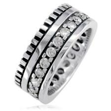 Wide Mens Eternity Style Ring, 9mm in Sterling Silver and Cubic Zirconia