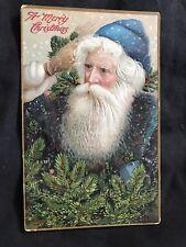 Early Christmas Postcard - Santa With Blue Robe