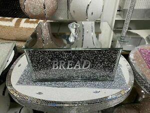 Black+Silver Crushed Diamond Crystal Mirrored Bread Bin Container, Kitchen Gift
