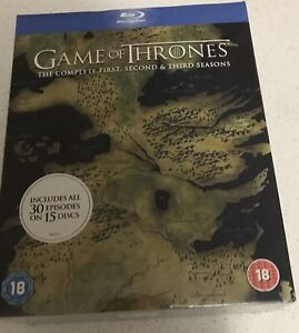 UNOPENED BLU-RAY DVDs GAME OF THRONES COMPLETE FIRST, SECOND, THIRD SEASONS BOX