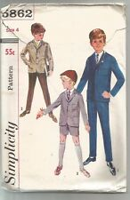 Simplicity Sewing Pattern 5862, Boy's Vintage Blazer, Trousers, Shorts, Size 4