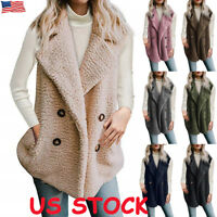 US Women Hooded Fleece Ladies Sleeveless Cardigan Coat Top Jacket Sweater Jumper
