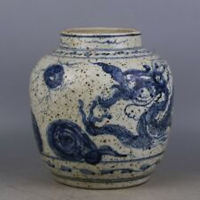 Chinese Old Marked Blue and White Dragon Pattern Porcelain Jar a243