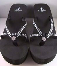 Corkey's Black Soft Foot Bed Embellished Clear Crystals Sandals Shoe Size 10 New