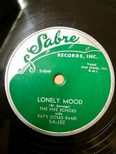 The Five Echoes Doo Wop 78 Lonely Mood / Baby Come Back To Me on Sabre MINT-