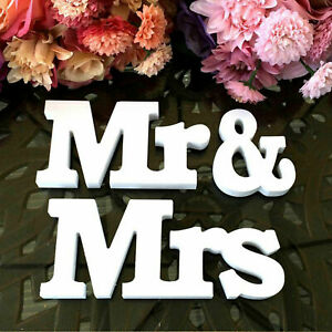 Mr and Mrs Wedding Wooden Sign Wood Letters Decoration Decor Table Top Standing