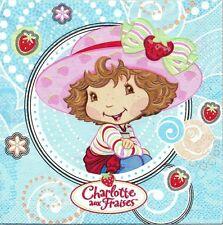 2 Serviettes en papier Charlotte aux Fraises Paper Napkins Strawberry Shortcake