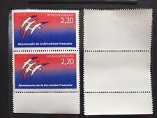 2 Timbres France 1989 neufs** YT 2560 se tenant avec marges. Bicentenaire