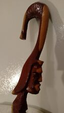WALKING CANE HIKING TREKKING WOODEN STICK  CONVERSATION PIECE   ORNATE