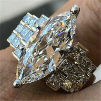 Luxury Dazzling Unique Horse Eye Cut White Sapphire Wedding Ring 925 Silver Gift