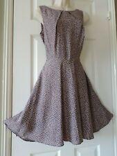 BNWT UK12 Brown Polka Dot vintage repro 40s 50s ditsy summer garden tea dress