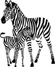 "Two Zebras | Vinyl Wall Sticker / Decal 28""x22"" [Animal 20]"