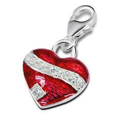 Argent Sterling Coeur Rouge Clip Charm-Coffret Cadeau-Neuf