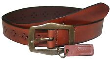 Rolfs Tan Heart Punched Genuine Leather 1.25 Inch Belt Brown Large 32-36.5 waist