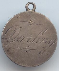 Dime Size Love Token, Looped, Year 1890, Name Darling, 2 Sided