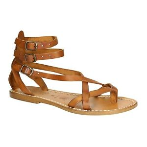 Women's handmade Strappy flat thong sandals made in Italy vintage beige leather