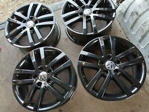 """4X BLACK GENUINE VW GOLF MK 5 6 7 TOURAN CADDY MAXI 16"""" ALLOY WHEELS"""