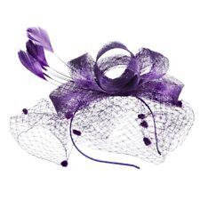 Women Feather Headwear Fascinator Mesh Hair Party Wedding Bridal Birdcage Hat