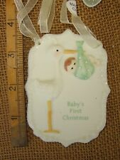 Cannon Falls Stork & Baby Porcelain Babys First Christmas Tree Ornament Nwt