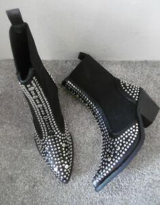 Black Studded Pointed Toe Heeled Chelsea Western Style Boots Size UK 4 EU 37