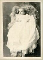 ANTIQUE MATTED PHOTO ~ BABY w BEAUTIFUL VICTORIAN CHRISTENING GOWN OHIO