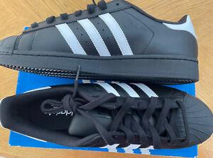 New Men Adidas Superstar Foundation Leather Sneaker Shoe Blk White Stripes 11.5