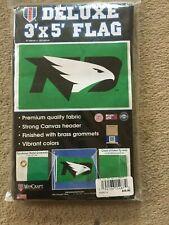 DELUXE- 3'X5' FLAG- UNIVERSITY OF NORTH DAKOTA FIGHTING HAWKS- UND-  NEW-