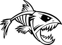 Angry Fish IV fishing logo sticker decal angling fly  tackle box vinyl sticker