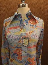 Nos Vtg 1970s Spring Blue Artsy Watercolor Print Nylon Button Down Shirt 16/36